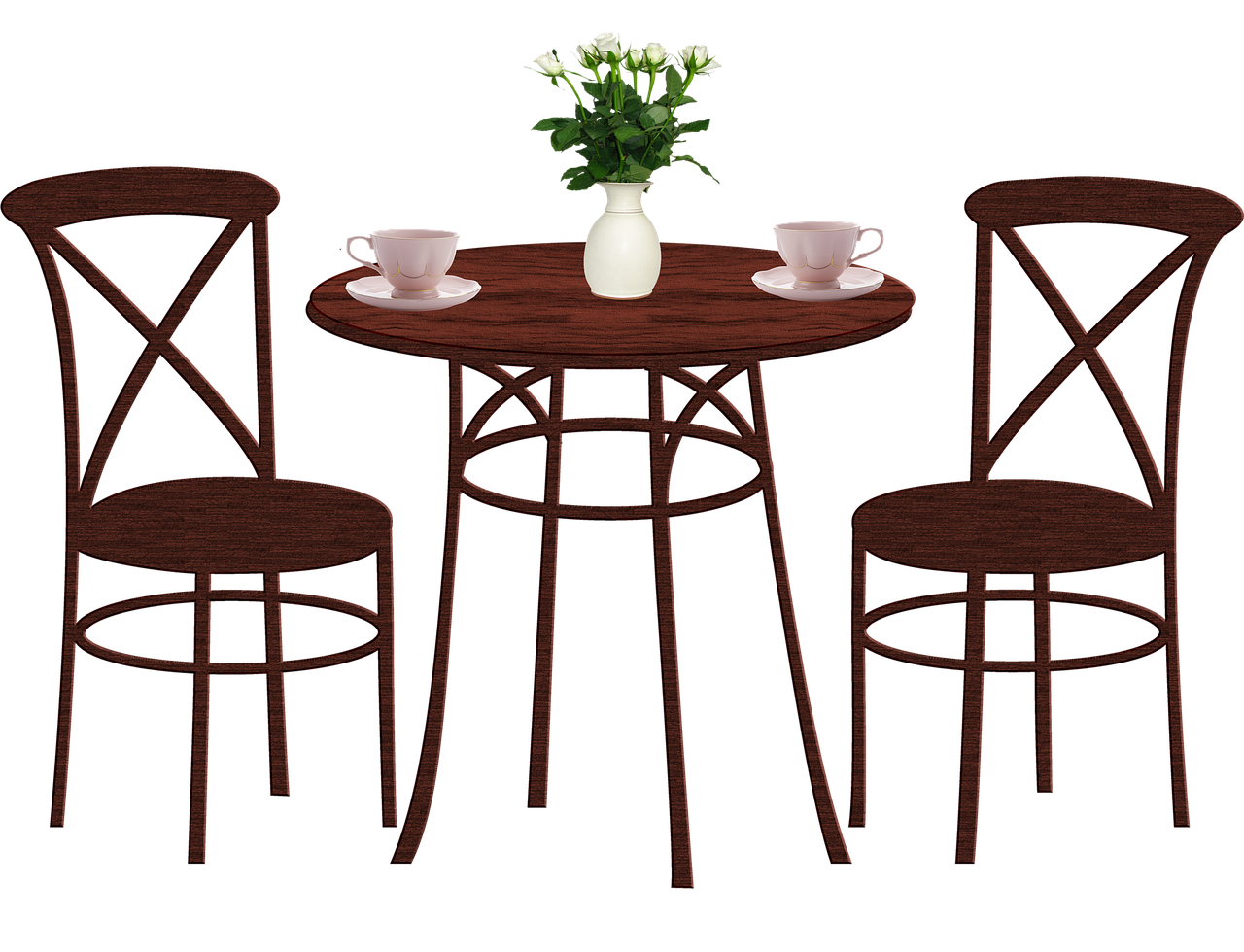 dining table, chairs, coffee